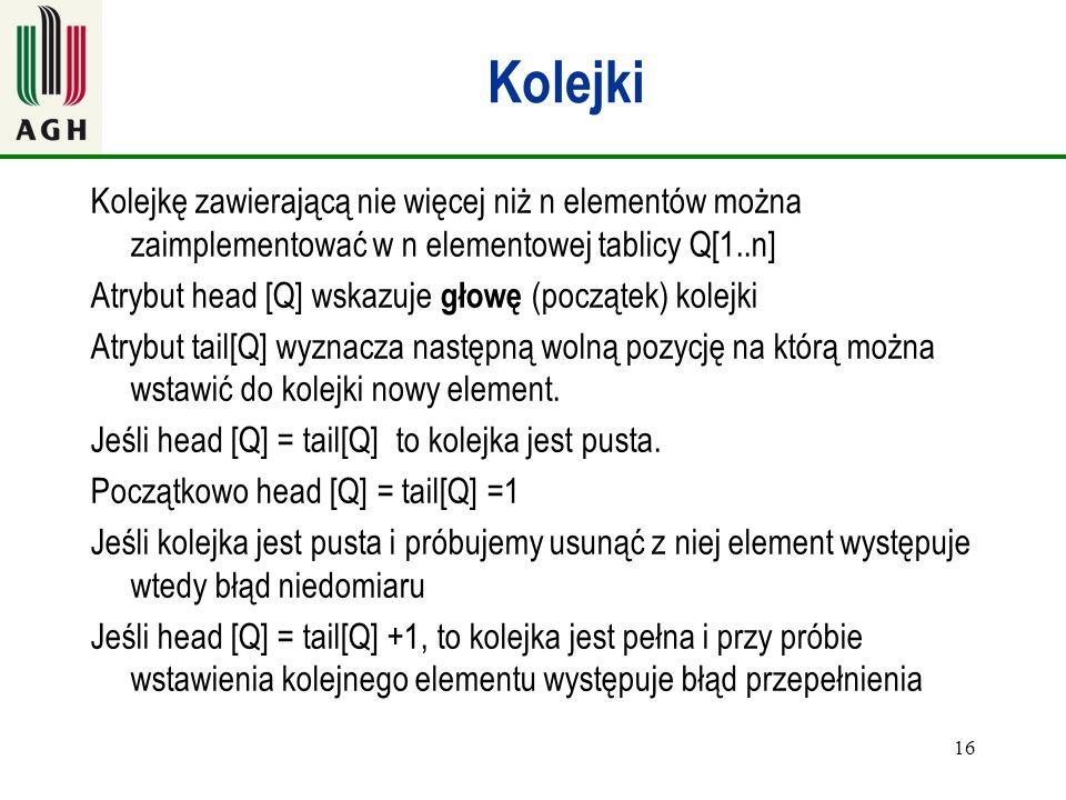 Kolejki Kolejkę zawierającą nie więcej niż n elementów można zaimplementować w n elementowej tablicy Q[1..n]